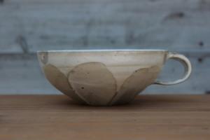 花岡隆|粉引面取りスープカップI横から画像